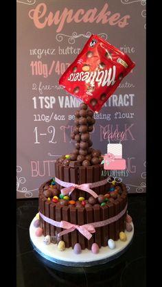 Two tier Gravity maltesers cake, m&m's , kit kats and mini eggs.