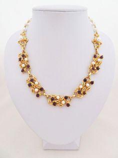Vintage Faux Pearl and Purple Rhinestone Gold by jewelbirdvintage