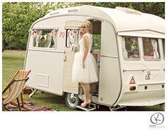 stunning bride & vintage caravan