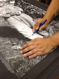 APC Lincoln's Hat paint, decoupaged dresser using photo.