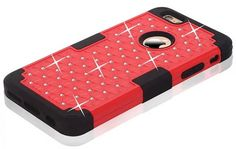 Rhinestone Crystal Bling iPhone 6S Plus/6 Plus Case Dual Layer Hybrid Defender Shockproof Cover Case Red + Black