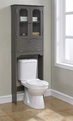 Features Elegant Etagere With 2 Glass Doors 1 Adjustable Shelf 1 Flip Over The Toilet Cabinettoilet Storagebathroom