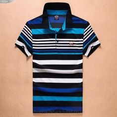 Paul Shark Striped Polo Shirts Short Sleeved Tee Top Stand Collar Blue Black White