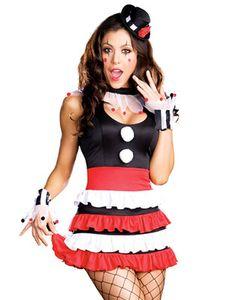 Womens Sexy Circus Retro Cirque Showgirl Jester Halloween Costume Dress S-L
