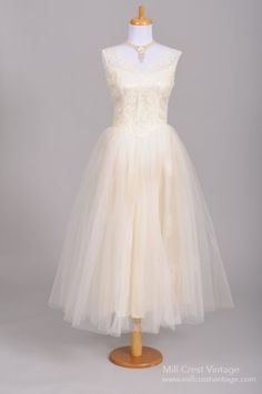 1950 Floral Lace Vintage Wedding Dress only $795