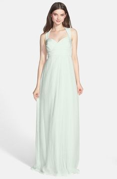 AMSALE Crinkled Silk Chiffon Gown Bridesmaid Mint Size 0 #126 NEW #Amsale #BallGown #Casual