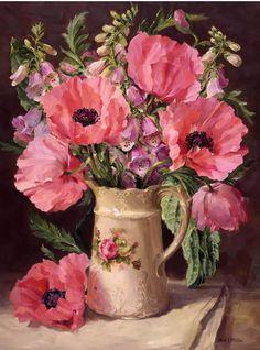 Oriental Poppies - Blank Card | Mill House Fine Art – Publishers of Anne Cotterill Flower Art