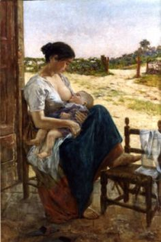 """Teresa Furgal - Adolfo Tommasi (Livorno, 1851 - 1933 in Florence) was an Italian painter. """" Mother and son """" , oil on canvas, 170 x 113 Mother And Child Painting, Painting For Kids, Breastfeeding Art, Mother Art, Indian Art Paintings, Romantic Pictures, Italian Painters, Classical Art, Woman Painting"""