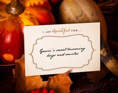 """Free Printable Thanksgiving """"I am thankful for..."""" Cards"""