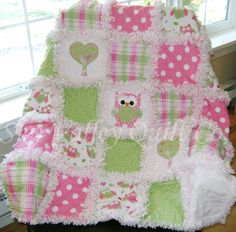 Prefringed cut  Rag Quilt KIT  spotted owl pink and green.  Die cut Appliques included. $74.99, via Etsy.