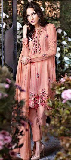 446429: Orange color family stitched Party Wear Salwar Kameez .