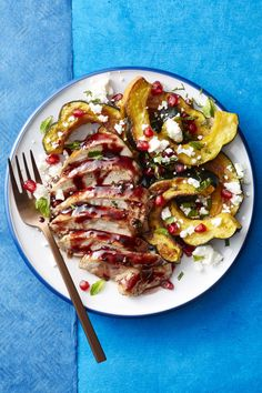 Pomegranate-Honey Glazed Chicken and Squash - GoodHousekeeping.com