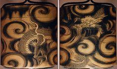 Case (Inrô) with Design of Dragon among Spiraling Clouds  Period: Edo period (1615–1868) Date: 19th century Culture: Japan Medium: Lacquer, fundame, sumie togidashi; Interior: gyobu nashiji & fundame