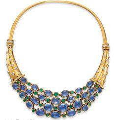 Sapphire, diamond, emerald and gold Cornucopia necklace,  1938, Christie's