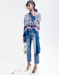 DEC '14 Style Guide: .Crew women's Collection graphic fair isle cashmere and Point Sur wide-leg crop jean in avett wash.