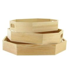 $6.97 Wood Octagon Tray Set.  maybe pint white or put a mosaic/painting/ decoration with wood  or something