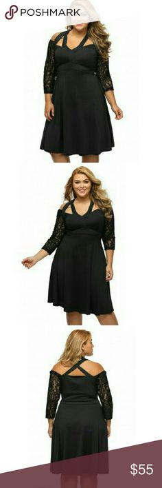 JUST IN  [Plus] LBD Lace Halter Dress Material is Poly & Spandex mix. Knee length. Lace 3/4 . Halter neckline. Swing dress, that can be dressed up or down.  Straps can be crossed in the front or back. Boutique Dresses Midi