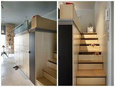 Tư Vấn Thiết Kế Nhà Bố Trí Nội Thất Cho Phòng Ngủ Rộng 7,8m² - chứa đồ trong bậc thang