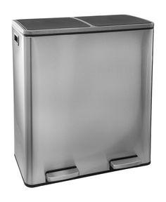 Steeldesign Duo Maro RVS prullenbak voor afvalscheiding - Pedaalemmer - 60 liter