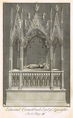 """Dart's Westminster Abbey Tomb - """"EDMUND CROUCHBACK, EARL OF LANCASTER (SON OF HENRY III)"""" - Copper Engraving - 1723"""
