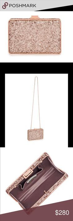 "Henri Bendel Glitter Box Bag Glitter Party Box. Satin lining Push-lock closure Interior card pocket Removable shoulder chain: 21""L Dimensions: 7""W X 1.5""W X 4""H henri bendel Bags Shoulder Bags"