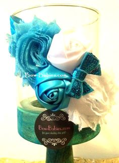 Shelby Vintage Turquoise and White Shabby Baby Headband
