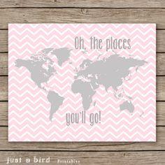 Decoração do berçário do bebê menina, rosa cinza decoração do berçário, Oh os lugares que vão, mapa do mundo da decoração da sala do berçário meninas - Download imediato