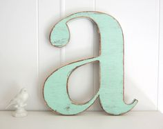 nursery decor baby wall letter decoration shabby vintage style Light Turquoise. $32.00, via Etsy.