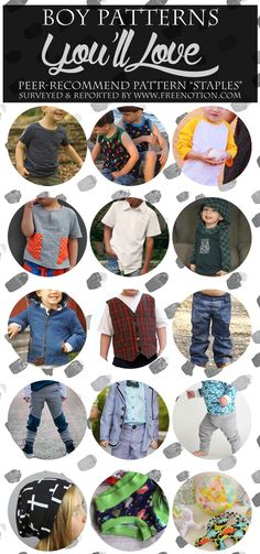 """Today I'll be sharing your list of most adored Boy Sew Patterns! You read me right! This is """"your"""" list. 125 of you lovely readers shared your pattern recommendations in this survey. Thanks so much for your help!!"""