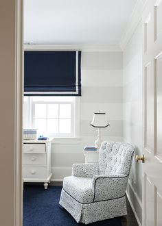 Nursery Stripe Walls. Nursery with white and gray stripe walls. #Nursery #StripeWalls #PaintedStripeWalls Allison Hennessy.