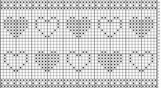 Hjerte bord Crochet Borders, Filet Crochet, Knitting Patterns, Crochet Patterns, Tatting, Needlework, Diy And Crafts, Diagram, Elsa