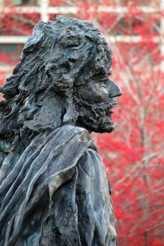 Statue - Father Marquette stands amid winter berries at Marquette University. Marquette University, Winter Berries, Lake Michigan, Green Bay, Canoe, Postcards, Lion Sculpture, Father, River