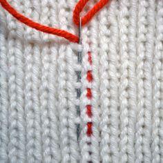 Weaving in ends in ribbing