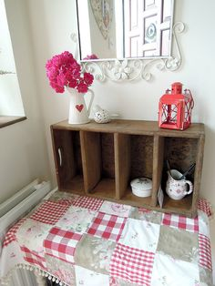 However there is room for this lovely old crate! Cute Furniture, Furniture Ideas, Old Crates, Shelves, Spaces, Table, Room, Home Decor, Cute