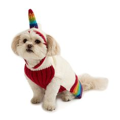 Unicorn Pet Sweater | $39 (sm/med/lrg) | Give your pet sweet storybook style with this hand-knit unicorn sweater. For Your Rare Beast : Trixie dreamed of prancing through enchanted forests. Give your pet sweet, storybook style with this hand-knit unicorn sweater. The comfy acrylic outfit is lovingly detailed with an adorable rainbow horn, colorful trim, and leash opening at the neck. Handmade in Peru.