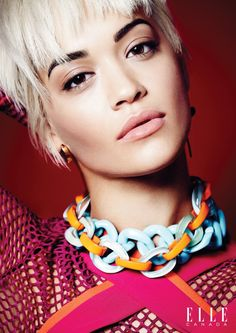 Rita Ora poses in a chainlink necklace Pose on ELLE Canada February 2016 issue Photoshoot