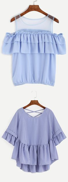 Ruffle,in Chinese it is lotus leaf. Can you imagine their postures in wind? #Blue #Ruffle #Blouse SKU:blouse160802032