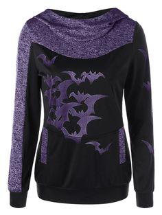 Halloween Bat Print Marled Hoodie - PURPLE M