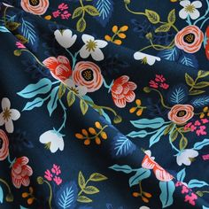 Les Fleurs Birch Floral Rayon Navy - Rifle Paper for Cotton and Steel