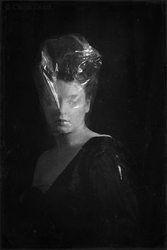 A Little Time For Myself - FREE SHIPPING 8x12 Print Black White Gray Woman Suffocation Preserving Plastic Surreal Creepy Portrait Photo Art.