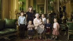 The Queen with her great-grandchildren and youngest grandchildren (From left: James, Viscount Severn, Lady Louise Windsor, Mia Tindall, Princess Charlotte, Isla Phillips, Prince George and Savannah Phillips