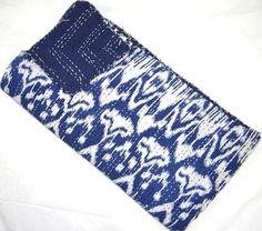 Indigo Blue Indian kantha quilt  Queen kantha by VishalHandicrafts, $48.99