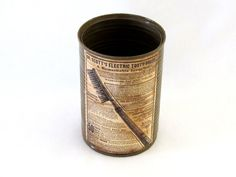 Upcycled tin can , toothbrushes cup , bathroom decor , gift for him one of a kind.  A vintage style cup which I perfectly cleaned , painted and