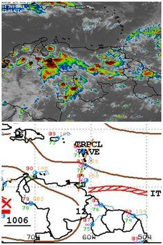 La ZCIT activando nubosidad/Lluvias en Llanos Suroccidentales y Oriente. Eje de Onda Tropical al NE de Venezuela
