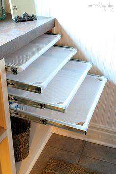 DIY Built-In Laundry Drying Racks - PVC, mesh laundry bag & drawer slides. - Oh how I wish I had a laundry room that would accommodate this. Definitely want for my dream house which will have a nice big laundry room :) - Diy Crafts Ideas Projects Drying Rack Laundry, Laundry Room Organization, Laundry Room Design, Organization Ideas, Storage Ideas, Storage Shelves, Laundry Storage, Drying Cupboard, Small Shelves