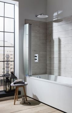 Product details for Edge Foldaway Bath Screen (Finish: Silver finish frame) with SKU Luxury Bathroom, Shower Bath, Small Bathroom, Tiny Bathrooms, Bath Remodel, Shower Screen, Shower Enclosure, Bathroom Design, Bath