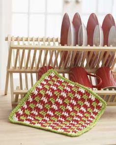 Gingham Christmas Dish Cloth