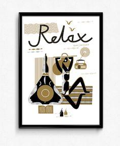 Plakat relax biały, Bogucka