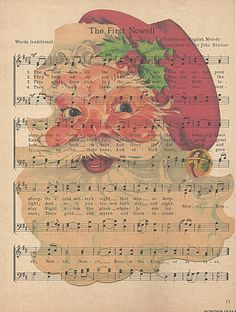 Graphics Fairy Santa printed on vintage music paper