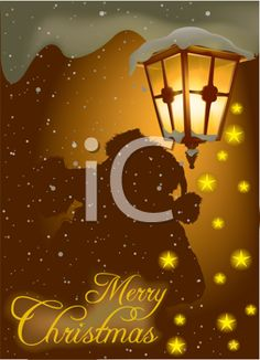 Royalty Free Clipart Image of a Christmas Greeting With an Old Streetlight